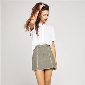 BCBGeneration Dusty Army Green Denim Mini Skirt